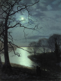 Watching a Moonlit Lake Art by John Atkinson Grimshaw
