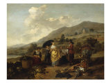 An Italianate Landscape with Travellers on their Way from Market Giclee Print by Hendrick Mommers