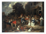 A Large Company Feasting outside a House Giclee Print by Gillis Van Tilborch