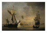 An English Galliot at Anchor with Fishermen laying a Net, 1691 Giclee Print by Willem Van De Velde