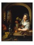 A Girl at a Window holding a Bunch of Grapes Giclée-Druck von Hieronymus van der Mij