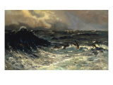 Dolphins in a Rough Sea, 1894 Giclee Print by Thorvald Niss