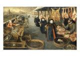 A Meat and Fish Market in Winter Reproduction procédé giclée par Sebastian Stoskopff