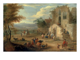 Villagers Conversing by a Ruined Church Giclée-tryk af Matthys Schoevaerdts