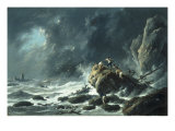 A Storm on a Rocky Coast, 1788 Print by Jean Pillement