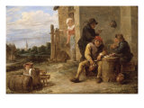 Three Boors Smoking at a Table outside a Building Prints by David Teniers the Younger