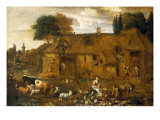 A Farmyard with Figures, Cattle and Sheep Posters by Pieter van Bredael