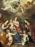 The Holy Family with St Catherine of Alexandria, two Angels and another Female Saint Reproduction procédé giclée par Hendrik van Balen the Elder