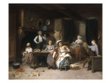 Entertainment for the Baby, 1876 Giclee Print by Charles Auguste Lobbedez