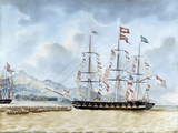 Nagasaki: The Merchant Ship, Amboina, Captain J.Lourens, 1842 Giclee Print by Jacob Spin