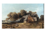 Feeding the Fowl - possibly the Old Saw Mills, Gunton Park Giclee Print by John Middleton