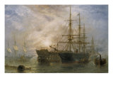 Her Majesty's Troop Ships receiving Stores in Portsmouth Harbour, 1880 Giclee Print by Claude T. Stanfield Moore