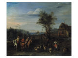 A Village Scene with Travellers on Horseback and a Herdsman with his Flock Giclee Print by Joseph van Bredael