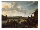 A River Landscape with an Inn and a Barge Crossing, 1633 Giclée-tryk af Herman Saftleven