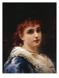 A Parisian Beauty in Pearls Giclee Print by Konstantin Egorovich Marovsky