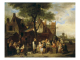 Outside the Inn, 1841 Giclée-tryk af Jan Hendrik Van Grootvelt