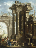 Capriccio of Classical Ruins with the Death of St Francis Xavier Giclée-tryk af Gian Paolo Panini