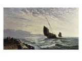 Luggers Leaving Harbour - Sunrise, 1876 Giclee Print by Arthur J. Meadows