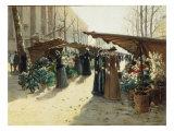 Marche aux Fleurs a La Madeleine avec Plantes Potageres Print by Theodor von Hoermann
