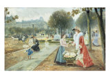 The Flower Seller, Paris Giclee Print by Joaquin Pallares