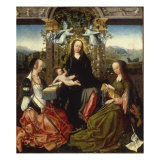 Madonna and Child Crowned with Angels, and Saints Catherine of Alexandria and Margaret of Antioch Giclee Print by Goswyn van der Weyden