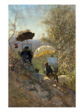 Otto Sinding and Johannes Grimelund painting in the open air Giclee Print by Firthofj Smith-Hald