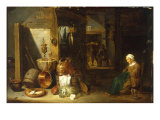 An Interior with a Woman Seated beside an Arrangement of Utensils Print by David Teniers the Younger