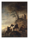 Riders Watering their Horses at a River Giclée-tryk af Philips Wouwermans Or Wouwerman