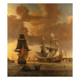 Two Men of War with other Small Craft Riding at Anchor off Greenwich Giclee Print by Jan Karel Donatus Van Beecq