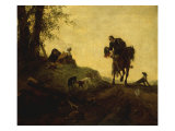Landscape with a Horseman on a Roadside Greeting Two Ladies Seated on a Hill Art by Philips Wouwermans Or Wouwerman