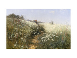 A Lady with a Parasol in a Meadow with Cow Parsley, 1881 Giclee Print by Ivan Ivanovich Shishkin