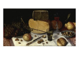 An Uitgestald Still Life of Grapes and Cheese on Pewter Plates Giclee Print by Floris van Dijck