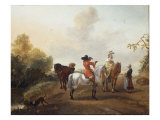 A Man and Lady Mounted on Horseback beside a River Giclee Print by Philips Wouwermans Or Wouwerman