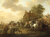 A Detachment of Cavalry with a Coach and other Soldiery outside a Harbourside Inn, 1777 Giclee Print by Dirk Langendijk