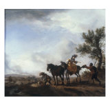 A Lady and a Gentleman beside a River Giclee Print by Philips Wouwermans Or Wouwerman