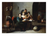 A Tavern Interior with Figures seated round a Table, other Figures by a Fireplace beyond Giclée-tryk af Mattheus van Helmont