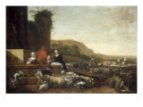 Italianate Landscape with Figures Tending to Their Flock of Sheep and Goats, 1656 Prints by Jan Baptist Weenix