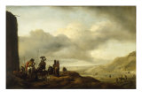 Beach Landscape with Women selling Fish in the Foreground Giclee Print by Philips Wouwermans Or Wouwerman