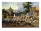 A Vegetable Market Near A Village Giclee Print by Theobald Michau