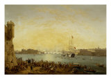 Entry of Dowager Queen Adelaide on Board HMS Hastings into Valetta Harbour Giclee Print by Anton Schranz