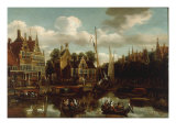 A Canal Scene in a Dutch Town Giclee Print by Rutger Verburgh