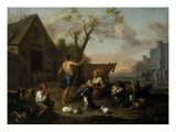 Animals and Figures in a Farmyard Giclee Print by Abraham Willemsens