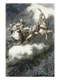 The Snow Queen: 'Are you cold? Come underneath my fur coat!', Woodcut illustration, 1881 Impressão giclée por Erdman Wagner