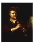 Portrait of a Man Playing a Recorder Giclee Print by Johann Kupetzkty