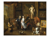 A Painter's Studio with an Elegant Couple viewing a Flower Piece Giclée-Druck von Balthasar van den Bossche