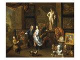 A Painter's Studio with an Elegant Couple viewing a Flower Piece Print by Balthasar van den Bossche