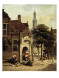 Figures by a Square in a Dutch Town Giclée-tryk af Jan Hendrick Verheyen