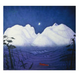 A Winter Night in the Mountains Giclee Print by Harald Oscar Sohlberg