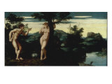 Adam and Eve in the Garden of Eden Giclee Print by Jan Swart van Groningen