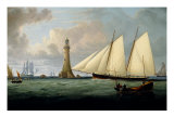 A Schooner of the Royal Yacht Squadron off the Eddystone Lighthouse, 1831 Giclee Print by John Lynn